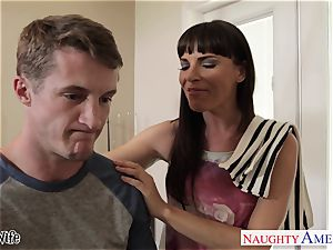 Lusty Dana DeArmond takes his immense blast on her pretty face