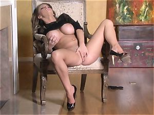 sizzling Jenna Presley toying with her appetizing pinkish wet cootchie until she blows a load