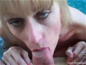 oral job In The Backyard Pool From mom