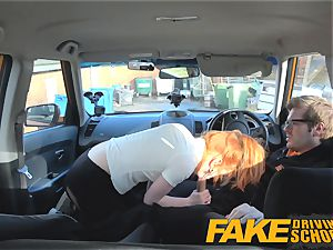 faux Driving school uber-cute red-haired Ella Hughes boinks
