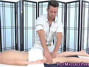 blonde masseur stroking