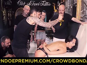 CROWD restrain bondage - domination & submission first-ever time practice for latina