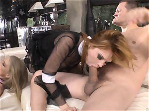 Cayenne Klein and Tarra white plumbing a dark-hued man meat