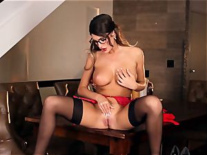 August Ames wondrous getting off in glasses