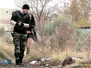 Peta Jensen taking a monster man rod and pop-shot