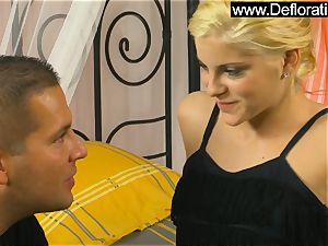 Lala queen the scorching blonde leaps on the fat man meat