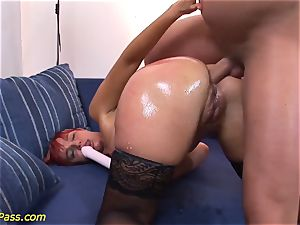 lubed chubby mummy gets ass-fuck pumped
