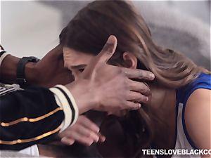 Pretty dark-haired nubile Riley Reid inserted by a black jizz-shotgun