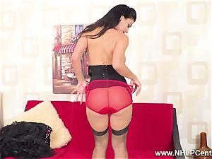 big-boobed black-haired masturbates in sheer RHT nylons crimson heels