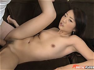 uber-cute chinese Miko Dai gets packed by a huge salami