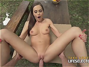 incredibly fit black-haired hottie enjoys to get kinky in public