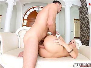 sumptuous bushy platinum-blonde gets anal internal ejaculation on Asstraffic
