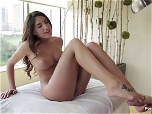 Oily session and inner massage for August Ames