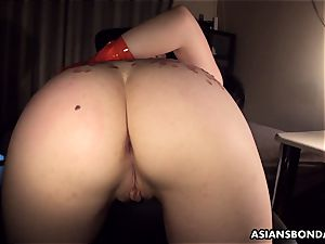Pouring steaming candle and grease on her ass as shes pummeled