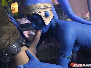 Alien Eva Lovia takes on two hero boners
