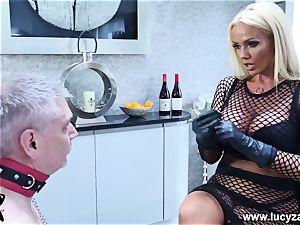 ultra-kinky dominatrix Lucy Zara whips demolishes miserable senior gimp