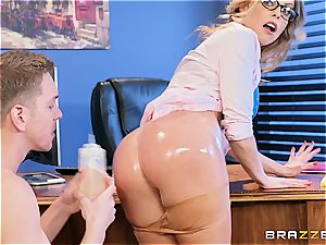 Britney Amber takes wood at work
