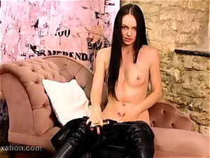 wondrous brunette unwraps off leather catsuit ravages plaything