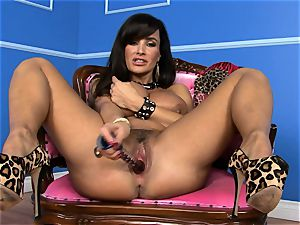 mind-blowing Lisa Ann jams her fake penis deep in her humid cunny