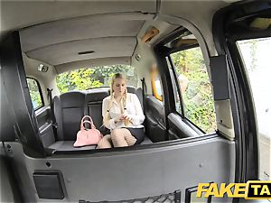 fake taxi blond likes older men in backseat of cab