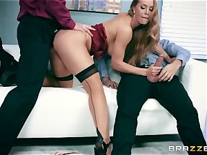 Office mega-bitch Nicole gets her thirsty crevasse dual drilled