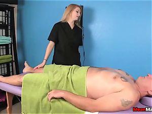 client Shocks To see The super-sexy blondie masseur