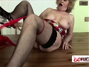 Gilf gets down and dirty as she fellates on fat manmeat while getting romped