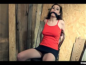 Antonia Sainz chair-tied cleavegagged disrobed vibrated