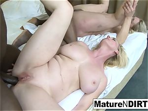 2 blond grandmothers have an multiracial 4some