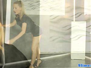 Gloryhole banged girl eats jism of floor