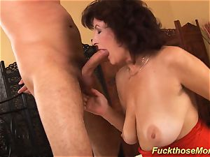 facial cumshot on huge-chested hairy mom
