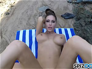 Beach caboose Jessica Jaymes porked deep in her jaw-dropping clitoris cunt