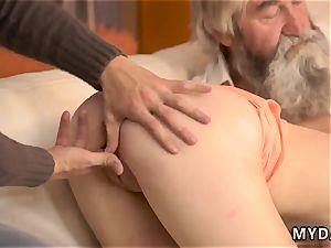 amateur nubile money-shot on slit hard-core unexpected experience with an senior gentleman