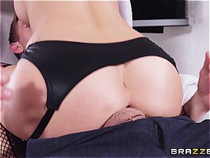 steamy and bitchy Ashley Adams breaks in the apartment with steaming striptease