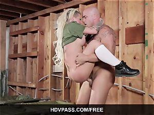 tatted bombshell Christy Mack gonzo Army lovemaking movie
