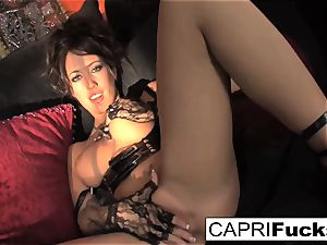 Capri demonstrates off her pretty soles