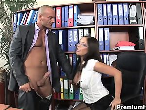 cum on his spectacular assistant breasts
