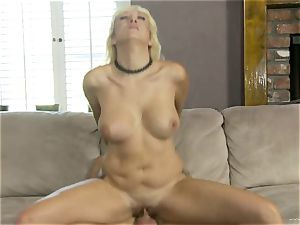 Alana Evans rides her raw cunny on this hard penis
