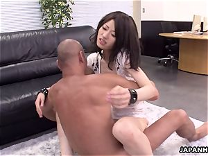 highly super hot 3 way plumb in the office for the cockslut