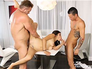 kinky nubile Michelle Martinez playing with her stepparent and stepbrother