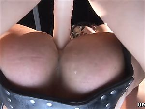 rectally cramming the pink hole as two dominas