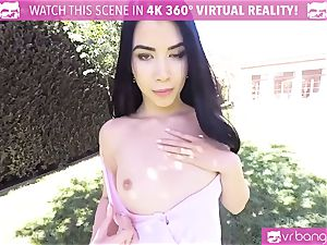 VR porn - cool damsel Dee take a yam-sized spear in the park