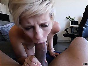 Short-haired blond stepsister rails trouser snake like a mega-slut