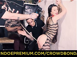 CROWD restrain bondage - Tiffany doll gets spanked in sadism & masochism plumb