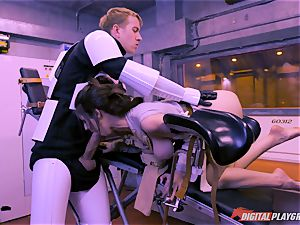 Stella Cox slit beaten by a space agent