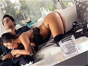 handsome Eva Lovia is training her boyfriend some manners before the party