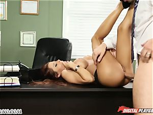 Mature stud tests his fresh assistant in office
