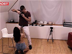 nasty dark-haired honey gets jism shot instead of photo-shoot