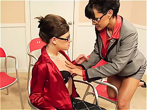 Lisa Ann taunting her coworker's wooly poon