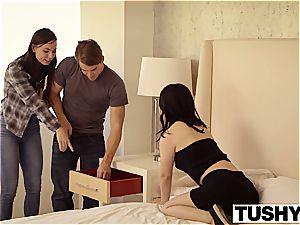 TUSHY handsome dark-haired Aidra Fox dual fucked